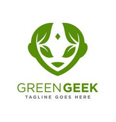 leaf face logo vector image