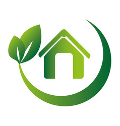leaves with branch rounded around the eco home vector image