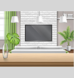 Living room with sofa tv and wooden bar table vector