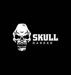 logo skull silhouette style vector image