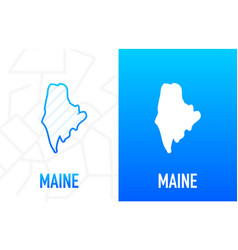 Maine - us state contour line in white and blue vector