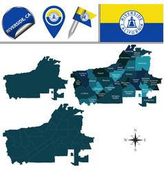 map riverside ca with neighborhoods vector image