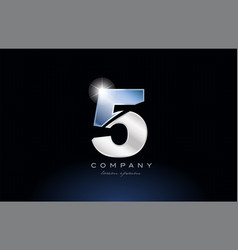 Metal blue number 5 five logo company icon design vector