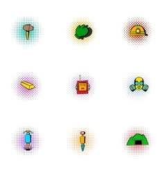 Mine icons set pop-art style vector