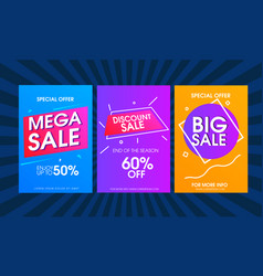 modern colorful sale poster template set vector image