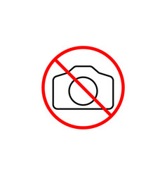 no camera line icon prohibition sign forbidden vector image