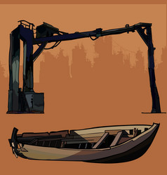 old industrial design metal and broken wooden boat vector image