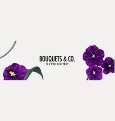 Pansy flower violet frame website banner template vector