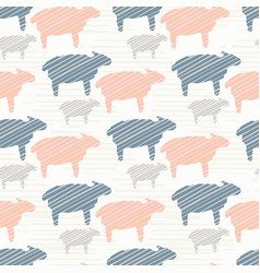 Pink blue and grey pastel color sheep silhouette vector