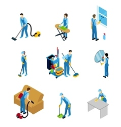 Professional Cleaners Isometric Icons Set vector image