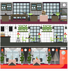 restaurant and cafe interior set in flat vector image