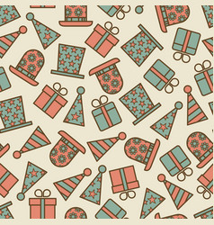 retro birthday party seamless pattern vector image