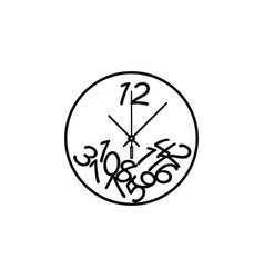 round wall clock with numbers line icon clock vector image