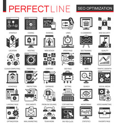 seo optimization black mini concept icons and vector image