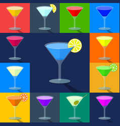 Set flat colored cocktails in transparent vector