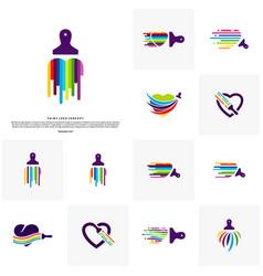 set of love paint logo design concept colorful vector image