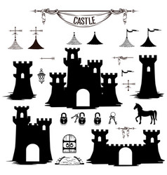 set of silhouettes of the castle towers vector image