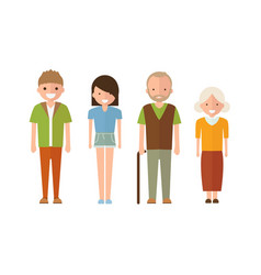 set of style family people in cartoon style vector image
