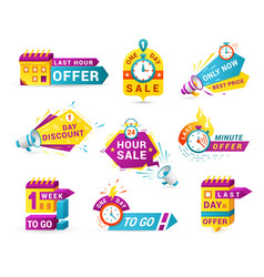 Shopping sales countdown promotional labels vector