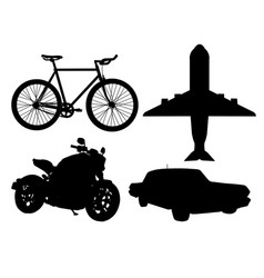 Silhouette different types transportation vector