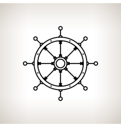 Silhouette ships wheel on a light background vector image