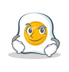 Smirking fried egg character cartoon vector