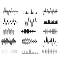 Sound amplitude waves radio signal symbols audio vector