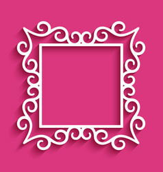 Square frame with cutout paper swirls vector