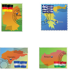 Stamp with an image of map vector