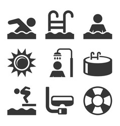 Swimming pool icons set on white background vector
