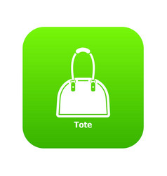 Tote bag icon green vector
