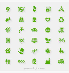 Trendy ecological and natural green icons vector