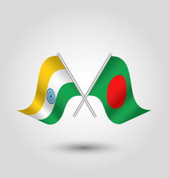 Two crossed indian and bangladeshi flags vector