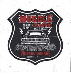 Vintage hand drawn muscle car t shirt design vector