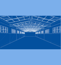 warehouse sketch rendering of 3d vector image