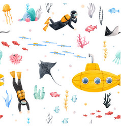 Watercolor underwater submarine pattern vector