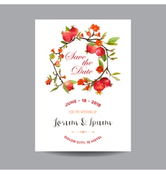 Wedding Card Tropical Flowers and Pomegranates vector image