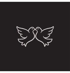 Wedding doves sketch icon vector image