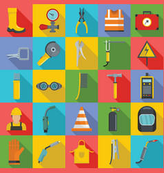 welder equipment icons set flat style vector image