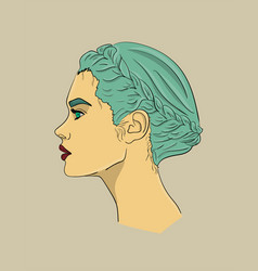 woman with long turquoise hair and red lips in vector image
