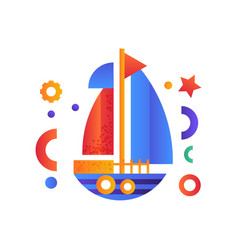 yacht sea travel retro toy water transport vector image