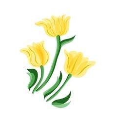 Yellow tulips set vector
