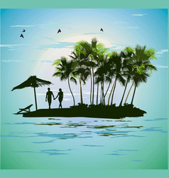 Young couple relaxing on a tropical island vector