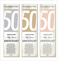 50 years Anniversary retro banner set vector image vector image