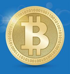 digital bitcoin golden coin with bitcoin symbol in vector image vector image