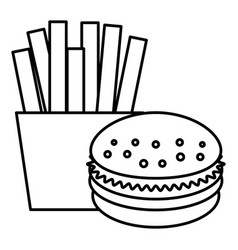 french fries with burger vector image vector image