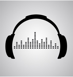 headphones icon with sound wave beats flat vector image vector image