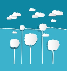 Paper Clouds and Trees on Torn Paper Blue vector image vector image
