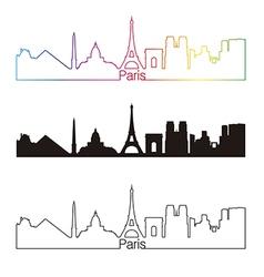 Paris skyline linear style with rainbow vector image