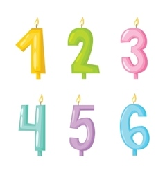 candle numbers with fire vector image